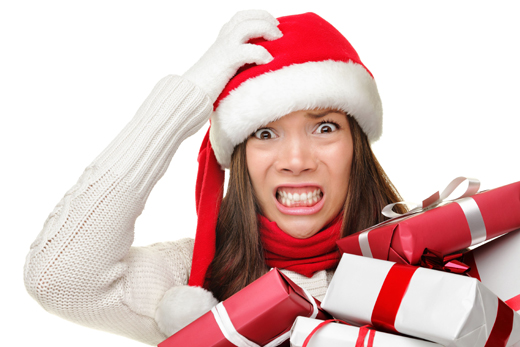stressed christmas shopper