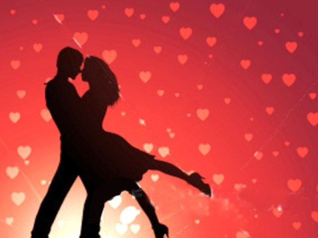 Couple dancing with red background